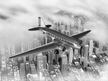 DC-3 Over City Stock Images