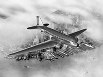 DC-3 Over NYC Royalty Free Stock Photography