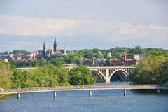 DC Вашингтона - Ключевой мост и Джорджтаун Стоковая Фотография RF