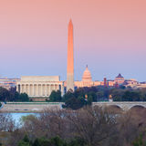 Мемориал Линкольна горизонта DC Вашингтона, памятник Вашингтона и Стоковое Изображение