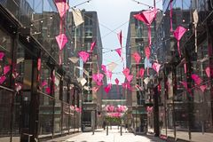 DC City Center alley overhead decoration to celebrate the Cherry Blossom Kite Festival. City Center features boutiques and restaurants along pedestrian alley in royalty free stock photography