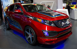 DC Comics SuperWoman Kia at NY Auto Show. The New York International Auto Show is an annual auto show held in New York City in late March or early April Stock Image