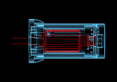 DC Electric motor (3D xray red and blue transparent). DC Electric motor (3D xray red and blue transparent isolated on black background Stock Photography