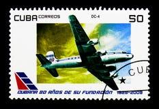 DC-4 flygplan, 80th årsdag av den kubanska flygserien, cir Arkivbild