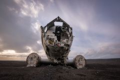DC 3 Plane Wreck in Iceland. Frontal view of a the DC-3 plane crash on a black sand beach in South Iceland stock image