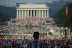 DC Political Protest. This was a picture from a Washington DC political protest. Taken on the mall facing the Lincoln memorial royalty free stock photography