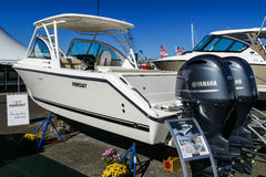 DC 265 Pursuit boat. NORWALK- SEPTEMBER 25: DC 265 Pursuit boat with Yamaha engines exhibit at Norwalk boat show  in Norwalk, USA on September 25, 2016 Royalty Free Stock Images