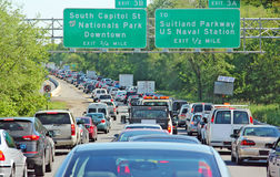 DC Traffic. Line up of vehicles stuck in traffic in a Washington, DC freeway Stock Images
