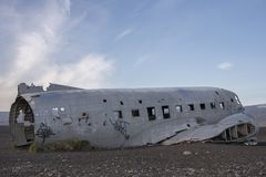 DC-3 US Navy, Iceland 3. DC-3 US Navy Plane Crash Wreckage Site in Vik, Iceland Stock Images
