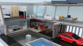 3DCG ζωτικότητα του έξυπνου σπιτιού στο έξυπνο τηλέφωνο ελεύθερη απεικόνιση δικαιώματος
