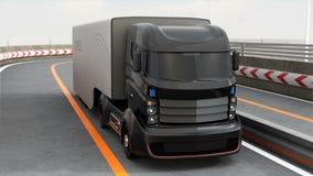 3DCG animacja autonomiczny hybryd ciężarówki jeżdżenie na autostradzie ilustracja wektor