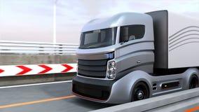 3DCG animatie van het autonome hybride vrachtwagen drijven op weg stock illustratie