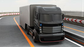3DCG animatie van het autonome hybride vrachtwagen drijven op weg vector illustratie