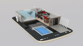 3DCG animation of smart house parts installing into a smart phone royalty free illustration