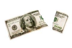 Déchiré usé à l'extérieur cents billet d'un dollar XXXL d'isolement Image libre de droits