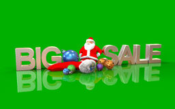 3dChristmas ornaments, big sale isolated on green background Royalty Free Stock Photo