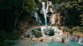 Kuang Si Waterfall in Luangprabang, Laos. Long exposure Drone Shot. stock images