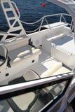 Däck av det moderna yachtfartyget Royaltyfri Fotografi