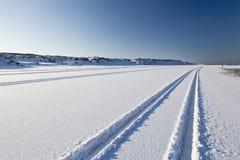 Däck spårar i snowen Arkivfoto