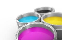 3d打印颜色cmyk油漆桶 免版税库存照片
