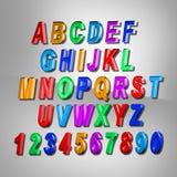 3d字母表colorfull 被设置的设计信件 免版税库存图片