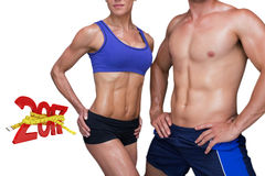 3DComposite image of bodybuilding couple stock photos
