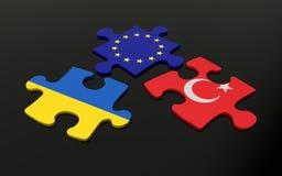 Déconcertez avec des drapeaux de l'Europe, de la Turquie et de l'Ukraine Photo stock