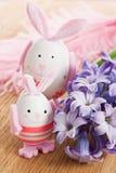 Décoration d'oeufs de lapin de Pâques Photographie stock libre de droits