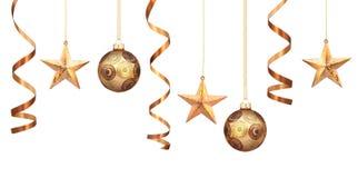Décorations de Noël d'or Photographie stock