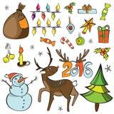 décorations de Noël réglées Graphismes de vecteur Ramassage d'éléments de conception Objets de bande dessinée Bonhommes de neige, Image stock