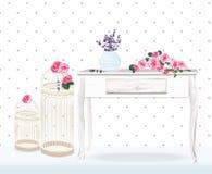 Décorations florales de rétro style pour épouser, anniversaire, carte d'invitation Pivoine de décor de mariage de vintage, lavand Images libres de droits