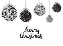 Décorations noires de Noël de salutation de croquis Image stock