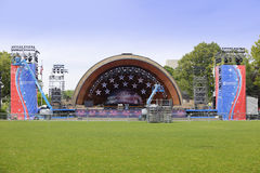 DCR Hatch Memorial Shell 4th of July 2017. BOSTON, MA, USA - JULY 1, 2017: Image of the DCR Hatch Memorial Shell setup for the 4th of July celebration Stock Photos