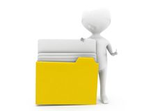 3dd man open file concept Royalty Free Stock Photo