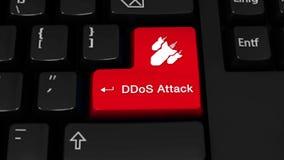 71 DDoS攻击在键盘按钮的自转行动 皇族释放例证