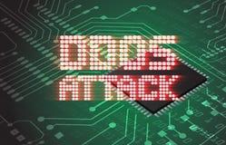 DDOS на предупреждении цифров бинарном над монтажной платой радиотехнической схемы Стоковые Изображения RF