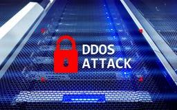 DDOS-aanval, cyber bescherming het virus ontdekt Internet en technologieconcept royalty-vrije stock afbeeldingen
