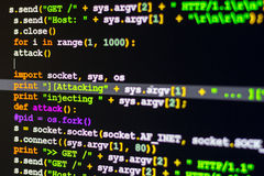DDOS-Aanvalsconcept, Conceptueel van de code van de cyberaanval royalty-vrije illustratie