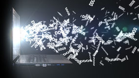 DDoS-Angriff auf dem Data-Warehouse Server Smartphone surft auf Wolke im Himmel Stockbild