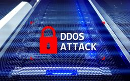 DDOS atak, cyber ochrona wirus wykrywa Interneta i technologii pojęcie obrazy royalty free