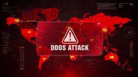 DDOS ataka ostrzeżenia ostrzeżenia atak na Parawanowej Światowej mapie ilustracja wektor