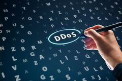 DDoS attack. Concept. Cyber security specialist looking for evidence of  in log file Stock Photo