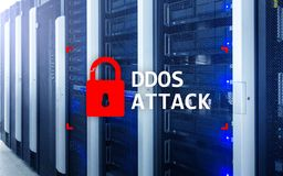 DDOS attack, cyber protection. virus detect. Internet and technology concept.  royalty free stock photography