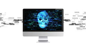 DDOS-attack, infektiontrojanen, virus anfaller på datoren smittad dator royaltyfri illustrationer