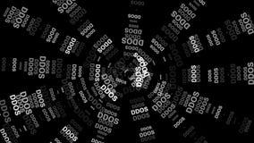 DDOS-attack, infektiontrojanen, virus anfaller Röd pil med DDOS-attackslogan på en grå bakgrund stock video