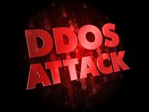 DDoS Attack On Dark Digital Background. Stock Photo
