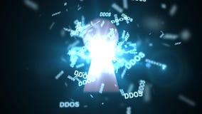 DDoS attack till och med nyckelhålet Röd pil med DDOS-attackslogan på en grå bakgrund vektor illustrationer