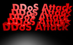 DDOS attack written in 3D Royalty Free Stock Photography