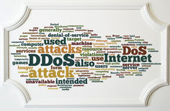 DDOS concept on white wooden frame board Royalty Free Stock Photos