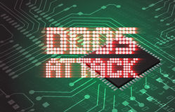 DDOS on a Digital Binary Warning above electronic circuit board Royalty Free Stock Images